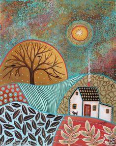 Pastoral Landscape Canvas Painting 16x20 inch Dog Abstract Folk Art Prim Karla G   eBay