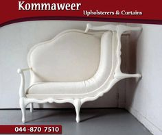 #WackyWednesday: Check out this new design idea for furniture. One half of this canape-crawl-up-the-wall-chair we found online is an old-fashioned, curvy style; the other half appears to be climbing the wall. #Kommaweer