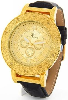 Mens Super Techno Watch by Joe Rodeo Genuine Diamond Watch Oversized Gold Case Black Leather Band w/ 2 Interchangeable Watch Bands #M9031 Super Techno. $49.00. BRAND NEW 100% AUTHENTIC. Comes packaged in a Super Techno Watch Box with 2 Interchangeable Watch Bands. Great Gift!
