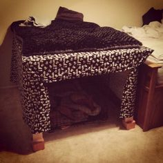 Good idea-crate under an end table, then cover the table with animal print with a dog bed on top !!!