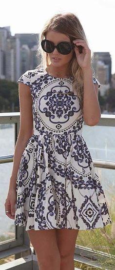 High neckline cap sleeve mini dress fashion
