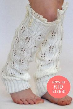 Kids Off White Knitted Leg Warmers with Lace Trim | Kids Leg Warmers | { bootcuffsocks.com }