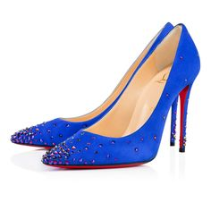 """Glisten from toe to head in """"Degrastrass."""" This fanciful 100mm pump in electric suede features a glimmering gradient of holographic blue crystals concentrated at the base of the toe and heel. An exquisite but delicate style, it's best to slip them on when you arrive at the party."""