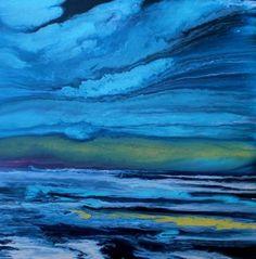 Abstract+Seascape+Art+Painting,+Coastal+Decor+Art,+Beach+Art+Coastal+Reflections-Deep+Blue+by+International+Contemporary+Landscape+Artist+Kimberly+Conrad,+painting+by+artist+Kimberly+Conrad