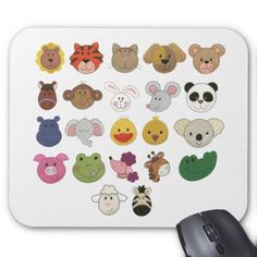 Cute emoji animal faces mouse pad