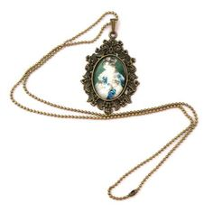 10 SALE  Necklace Copper Cat Queen in Green Blue by timegemstone, £6.99