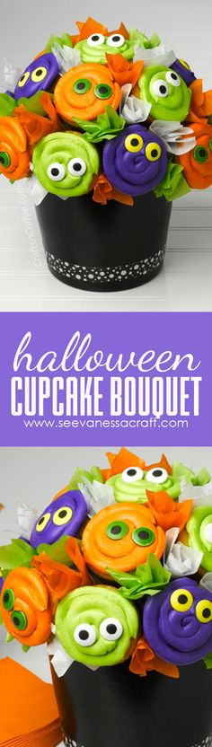 Halloween Eyeball Cupcake Bouquet Tutorial Spooky Halloween, Halloween Food Crafts, Halloween Eyeballs, Spooky Food, Halloween Baking, Halloween Cupcakes, Halloween Goodies, Halloween Snacks, Holidays Halloween