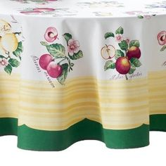 Infuse your tablescape with the rustic and natural ambience of the French countryside by using Villeroy & Boch's French Garden Tablecloth. This exquisite linen features colorful fruit and flowers surrounded by a yellow/green border. 70 Inch Round Tablecloth, Tablecloth Fabric, Top 10 Christmas Gifts, Thoughtful Christmas Gifts, Tabletop, Colorful Fruit, Fruit Pattern, Garden Items, Villeroy