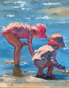 New Painting Beach Scenes Children 49 Ideas Easy Canvas Painting, Painting For Kids, Figure Painting, Watercolor Portraits, Watercolor Paintings, Watercolors, Beach Sketches, Seaside Art, Watercolor Ocean