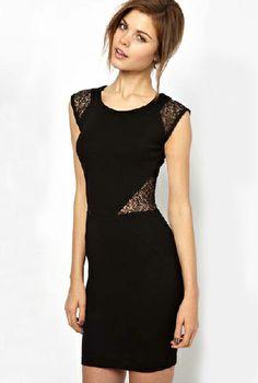 Vestido combinado encaje hueco sin manga-Negro EUR€23.93