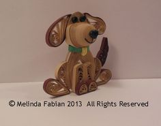 Quilled 3D Dog Christmas Tree Ornament Puppy Dog by MelindaFabian, $15.00