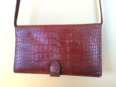 Vintage Liz Claiborne Croc Embossed Brown Leather Handbag by ItsallforHim on Etsy