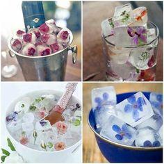 DIY hielos con flores y frutas