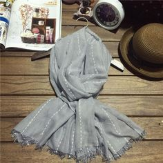 Fall winter fashion cotton linen scarves for women apparel accessories striped scarf  tassel couple shawls muffler 75z-AA682