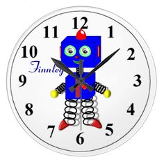 This Blue Robot Wall Clock is so cute and all ready to be personalized with your child's name for that extra special touch as no extra cost. Great idea for a baby shower or baptism gift or even a birthday present.