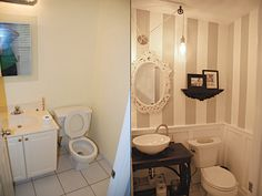 Our new half bathroom before and after - Houzz