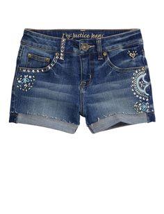Girls Clothing | Shorties 2½ Inseam | Roll Cuff Embellished Denim Short | Shop Justice