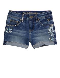 Girls Clothing | Shorties 2½ Inseam | Roll Cuff Embellished Denim Short | Shop Justice