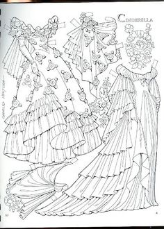 Coloring for adults - Kleuren voor volwassenen Coloring Book Pages, Coloring Sheets, Recycle Old Clothes, Paper Art, Paper Crafts, Art Origami, Paper Dolls Printable, Dibujos Cute, Vintage Paper Dolls