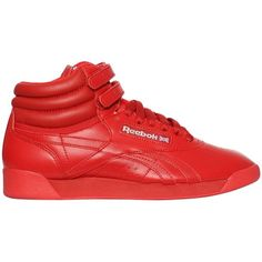 Reebok Classics Women Freestyle Hi Og Lux Leather Sneakers ($135) ❤ liked on Polyvore featuring shoes, sneakers, red, red hi top sneakers, red leather shoes, red trainers, reebok sneakers and reebok shoes