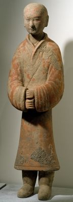 Man standing, Shanxi Region (terracotta) Chinese Western Han Dynasty,200-BC-24 AD  Musee Guimet,Paris