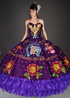 The Diosa quinceanea dresses are a high couture with a very distinct quinceanera style meant to make you look and feel like a princess. These dresses are all princess looking with lots of colorful details and sparkles!