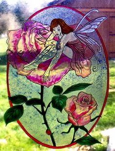 WICOART WINDOW COLOR STICKER CLING FAUX STAINED GLASS OVALE FEE DES ROSES FAIRY