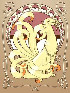 Art Nouveau Ninetails print by Brandi Miller. $10.00