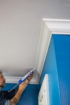 How to Install Crown Molding: Caulk Faux Crown Moldings, Ceiling Crown Molding, Diy Crown Molding, Ceiling Trim, Moldings And Trim, Moulding, Home Improvement Projects, Home Projects, Crown Molding Installation