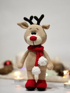 passo a passo Reindeer crochet tutorial / PATTERN deer Amigurumi / Christmas animal pattern Crochet Doll Pattern, Crochet Patterns Amigurumi, Crochet Dolls, Amigurumi Doll, Crochet Christmas Decorations, Christmas Crochet Patterns, Christmas Knitting, Christmas Deer, Christmas Animals