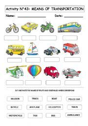 Modes of Transportation Worksheets | MEANS OF TRANSPORTATION