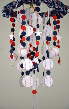 Sports Baseball Crib Mobile, Nursery Decor, Baby Shower Gift,