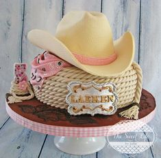 Saddle up for some of the cutest cowboy and cowgirl themed cakes. With details such as paisley, cowboy hats, spurs, and more, these adorable themed cakes are the key ingredient to your next Birthda. Cowboy Hat Cake, Cowgirl Cakes, Western Cakes, Cowgirl Party, Western Theme, Cowgirl Birthday Cakes, Rodeo Party, Horse Party, Cowboy Boot