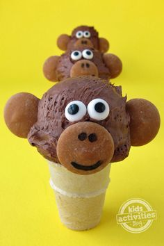 Mini Ice Cream Cone Monkeys (for monkeys too from water-based or vanilla ice-cream on the hot summer days).