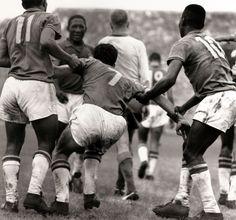 Garrincha, Djalma Santos, Mario Zagallo and Pele. Brazil-Sweden, World Cup Final 1958.