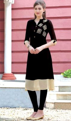 Create a lasting impact on onlookers wearing black color georgette embroidered tunic. The lovely lace and resham work a vital feature of this attire. #embroideredkurti #straightcutkurtis #casualweartunic
