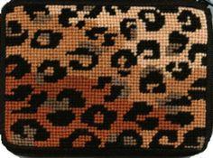 Needlepoint Stitch & Zip Coin Purse - Leopard