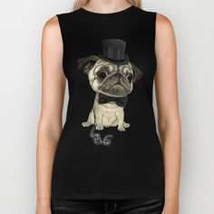Pug; gentle pug (color version) Biker Tank