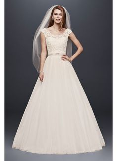 Tulle Wedding Dress with Lace Illusion Neckline WG3741