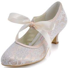 c437b603c5213 1920s Style Shoes ElegantPark Mary Jane Low Heel Pumps Lace Wedding Dress Shoes  vintagedancer.com