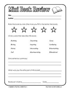 Free Mini Book Review: A fun way to review a book quickly!