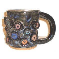 Eye Coffee Cup 30  Handbuilt Slab Mug With 18 Multi-colored Eyes by Aaron Nosheny / Aberrant Ceramics