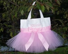 Personalized Ballet Bag  White tote bag with Pink por naptime21