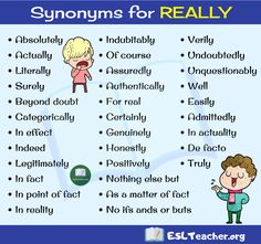 Really Synonym! What are synonyms for really? This is a list of Really synonyms in English you should know. Really Synonyms in English Here's a list of 3 Teaching English Grammar, English Writing Skills, English Vocabulary Words, Learn English Words, English Language Learning, English Study, English Lessons, Beautiful Words In English, English Collocations