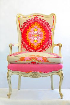 Chair makeovers... Love the colors