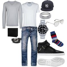 """MENS CASUAL FASHION"" men's white V-neck, men's grey V-neck sweater, jeans, snapback, sneakers"