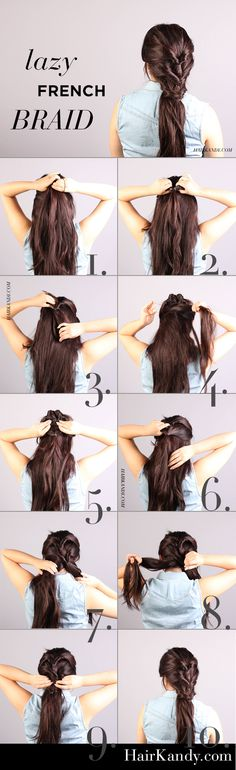 """Easy and quick tutorial! Boho-like """"lazy"""" French Braid. Casual but elegant at the same time. Perfect heatless hairdo for the summer."""