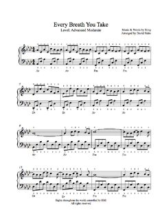 Every Breath You Take by The Police Piano Sheet Music | Advanced Level