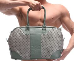Laser cut details on grey leather with pistachio green trimming, with detachable shoulder strap. Pistachio Green, Leather Luggage, Grey Leather, Laser Cutting, Shoulder Strap, African, Lifestyle, Bags, Collection