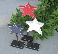 3 Tall Standing Star Block Set For July 4th, Independence Day, Shelf, Desk…